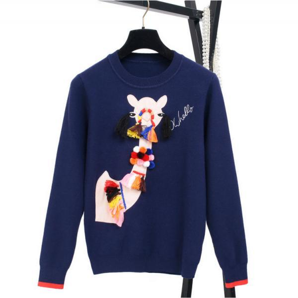 Print Tassels Ball Decorate Pullover Sweater