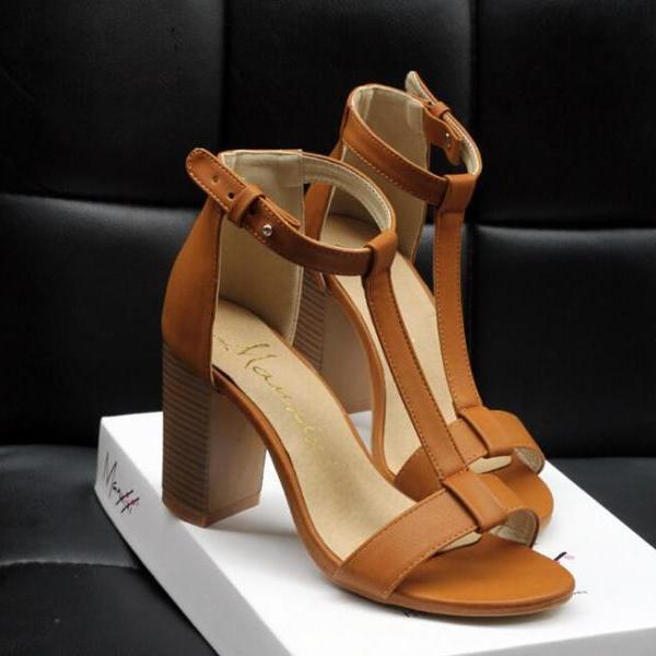 T-Strap Chunky Heel Leather Open Toe Sandals - Brown / Black