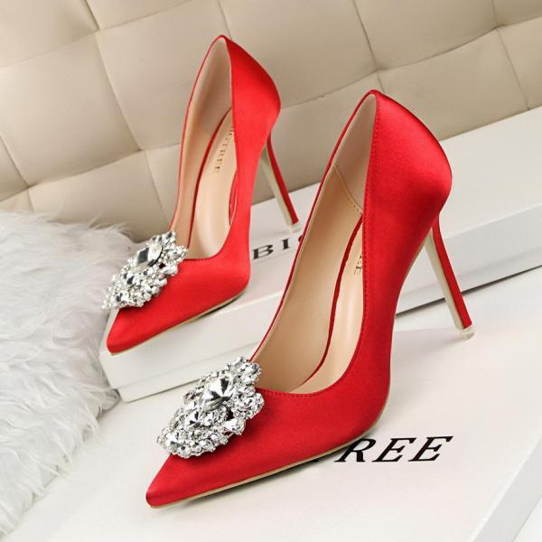Crystal Embellished Satin Pointed-Toe High Heel Stilettos
