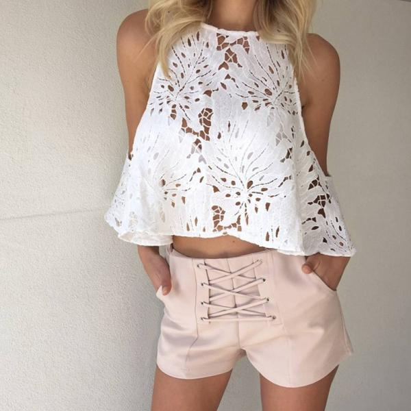Pure Color High Waist Bandage Beach Shorts
