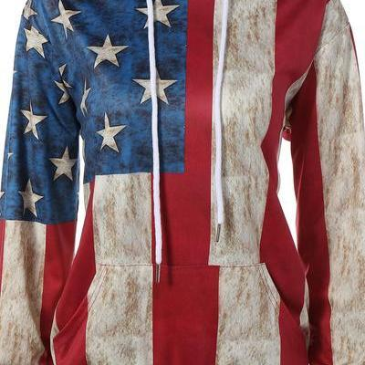 Flag Print Patchwork Pocket Drawstring Hoodie