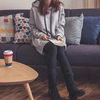 Pure Color Drawstring Pocket Long Loose Hoodie