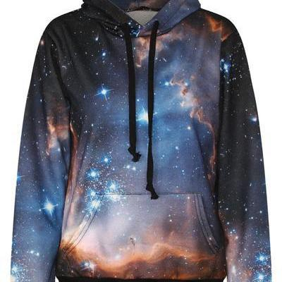 Galaxy Stars Print Pocket Drawstring Slim Hoodie