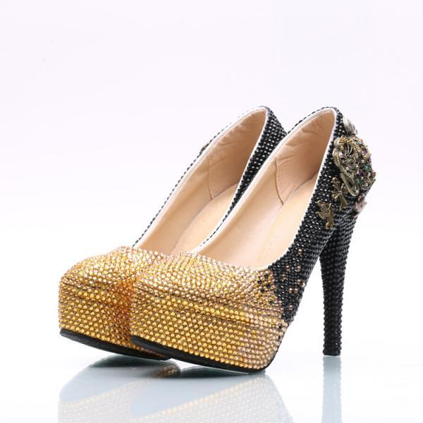Gradient Rhinestone Metal Decorate Platform Stiletto High Heels Party Shoes