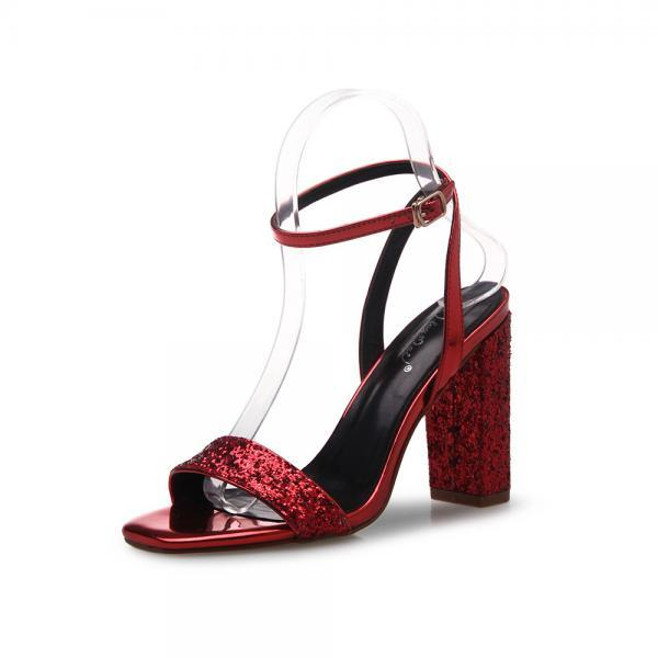 Square Open-Toe Sequin Ankle Strap Chunky Heels, High Heels