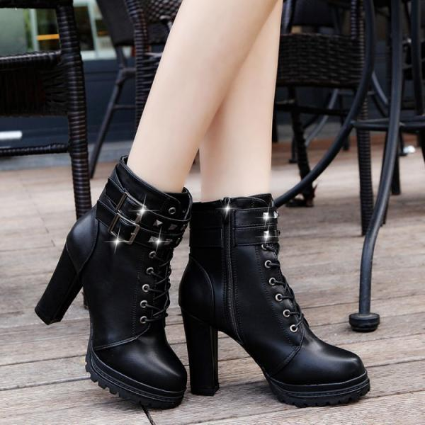 PU Pure Color Chunky Heel Round Toe Belt Buckle Lace-up High Heels