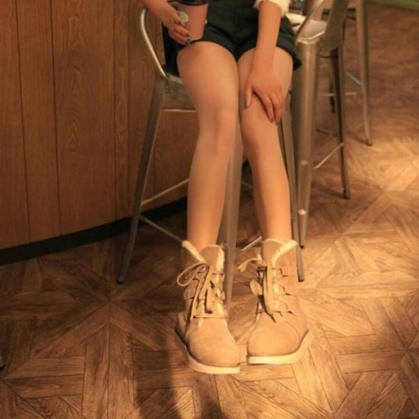 Cloth Pure Color Flat Round Toe Short Boots