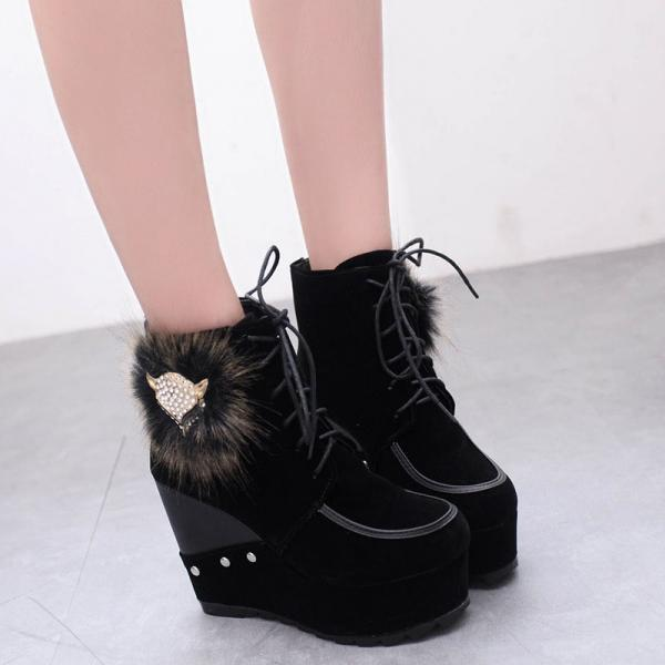 Scrub Pure Color Slope Heel Round Toe Short Boots
