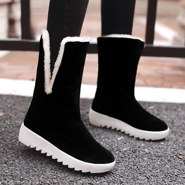 Scrub Pure color Bow tie Slope Heel Round Toe Boots