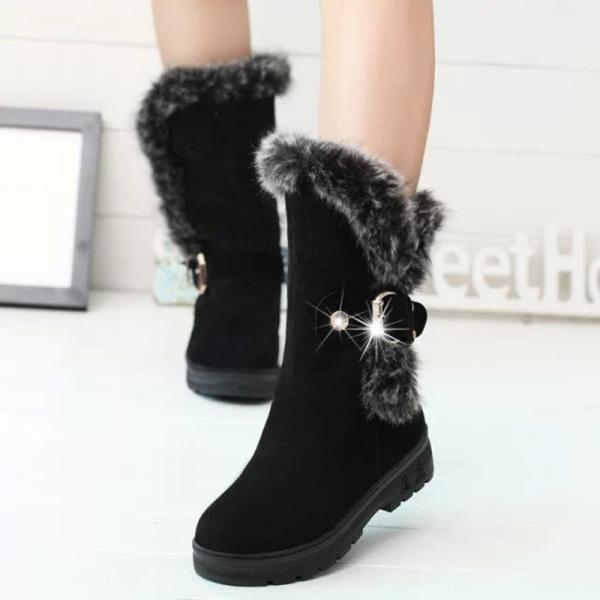 Scrub Pure color Metal Chunky HeelRound Toe Boots