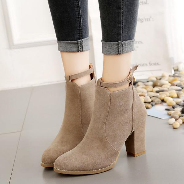 Suede Pure color Zipper Chunky Heel Pointed Toe High Heels