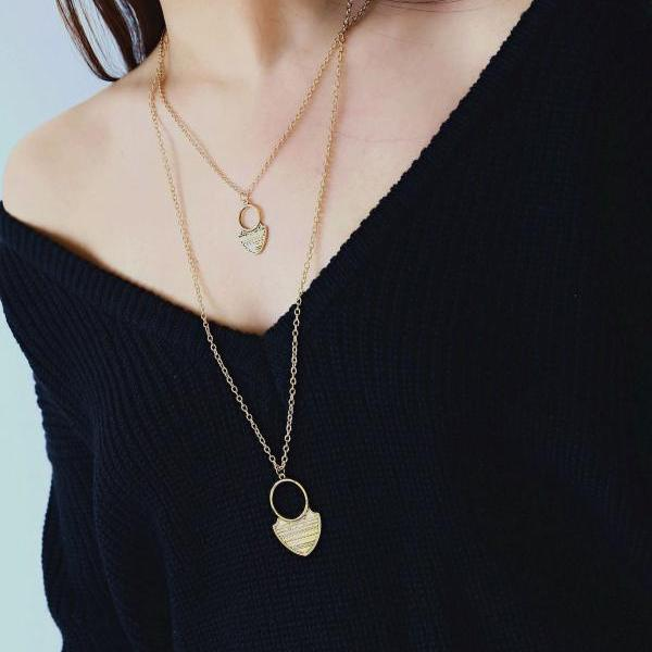Alloy Carving Grain Moon Multilayer Necklace