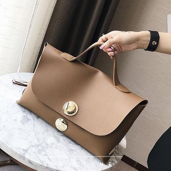 Solid Color Metal Lock Adornment Women Satchel