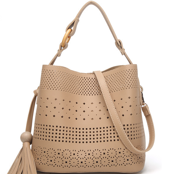 Bucket Shape Hollowed Solid Color Handbag