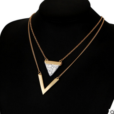Triangle Hoard Of Pendant V-shape Multilayer Necklace