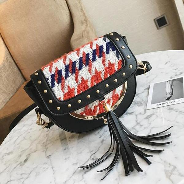 Korean Style Woolen Tassel Women Saddle bag