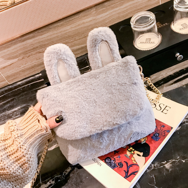 Lovely Rabbit Ears Design Plush Crossbody Bag