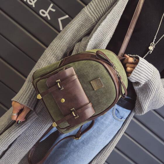 Retro Corduroy Zipper Women Backpack