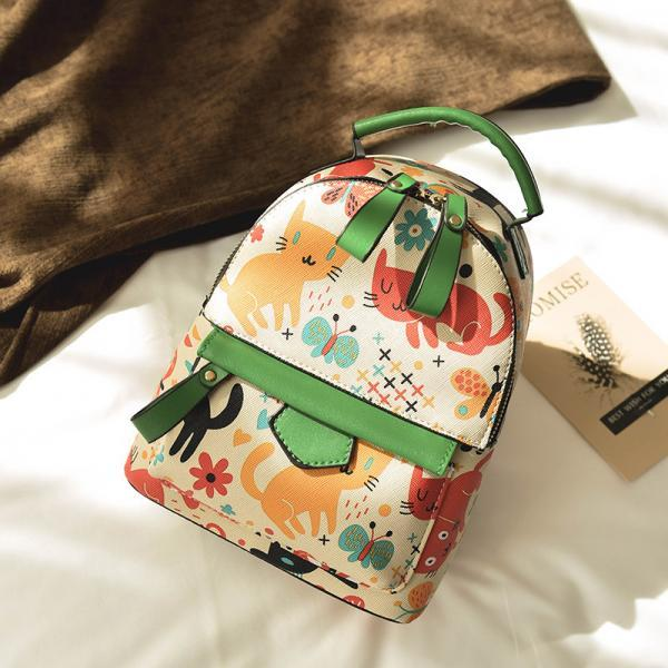 Colorful Cartoon Print Women Backpack