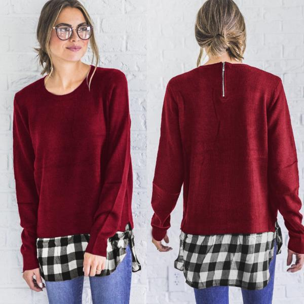 Plaid Scoop Patchwork Long Sleeves Loose Long Blouse