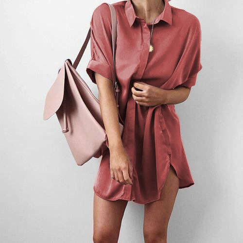 Candy Color Lapel Collar Short Sleeves Loose Long Split Blouse