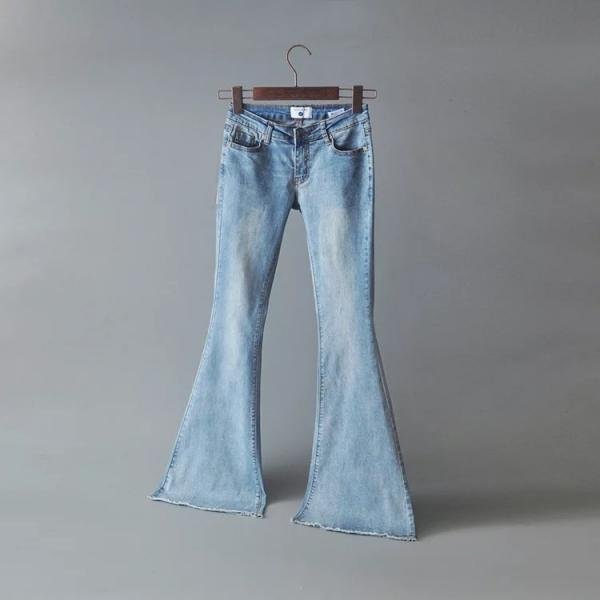 Middle Waist Long Bell-bottomed Jeans Pants