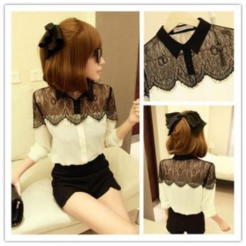 Free Shipping Stylish Shirt Lace Splice Chiffon Women's Shirt with Plus Size XXXL