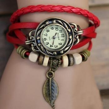 Leather Beads Handmade Vintage Women's Bracelet Wist Wrapped Watch