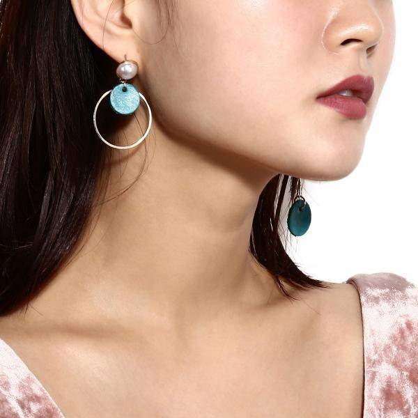 Fashion Candy Color Leather Multielement Pearl Earrings