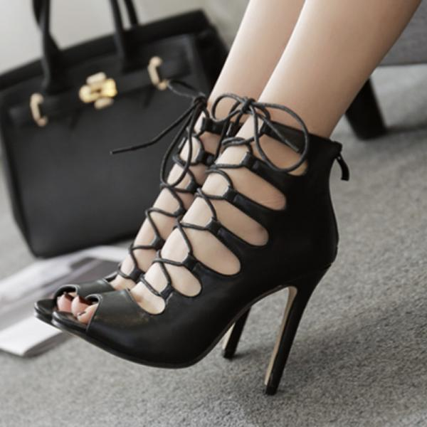 Lace Up Hollow Out Peep-toe Stiletto High Heel Sandals