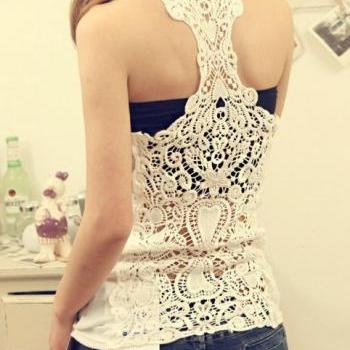 Sexy Hollowed-out Women Lace Flower Tank Top Sexy Cami Sleeveless Casual Cotton T-Shirt
