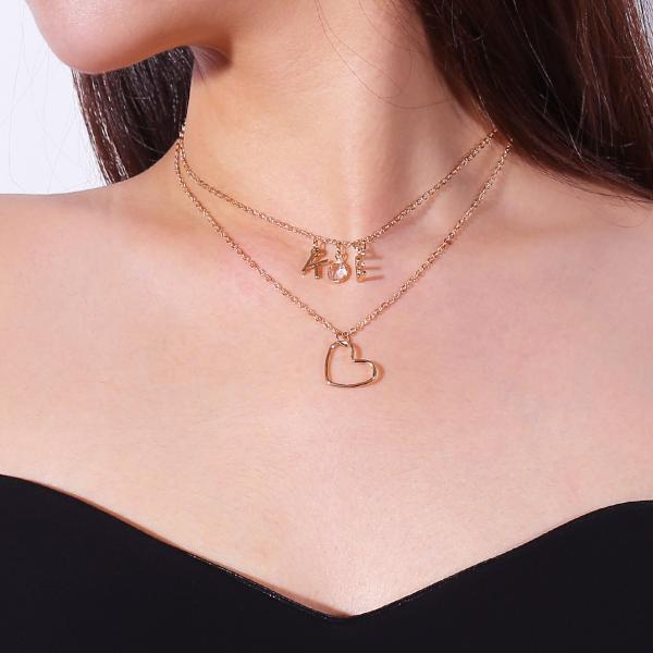 Light luxury Crystal Love Letters Pendant Clavicle Necklace