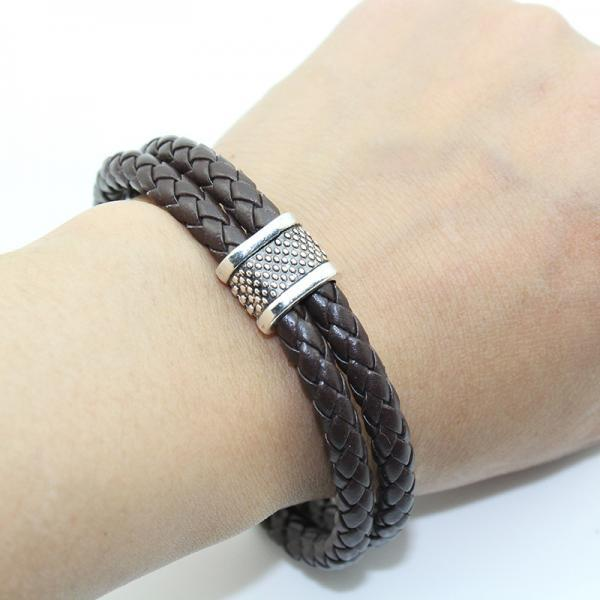 Fashion Stainless Steel Hollow-out Genuine Leather Woven Bracelet