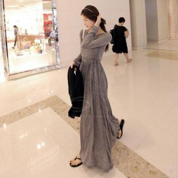 Bohemian Narrow Waist Long Sleeve Maxi Dress Long Dress