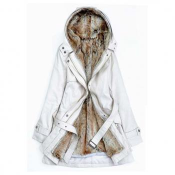 Solid Fleece Zipper Closure Hooded Coat