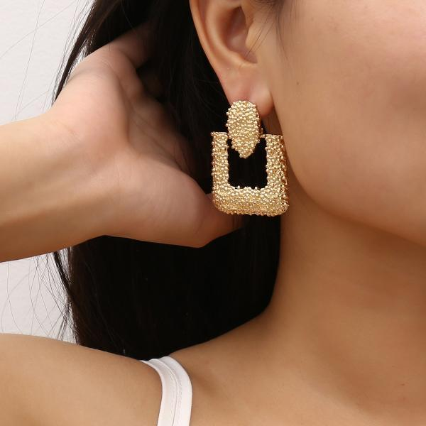Vintage Alloy Square Earrings