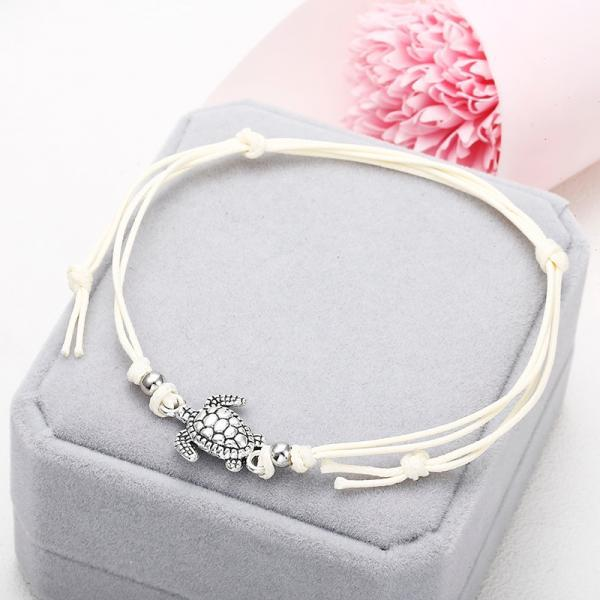 Summer Beach Turtle Shaped Charm Rope String Anklets For Women Ankle Bracelet-1