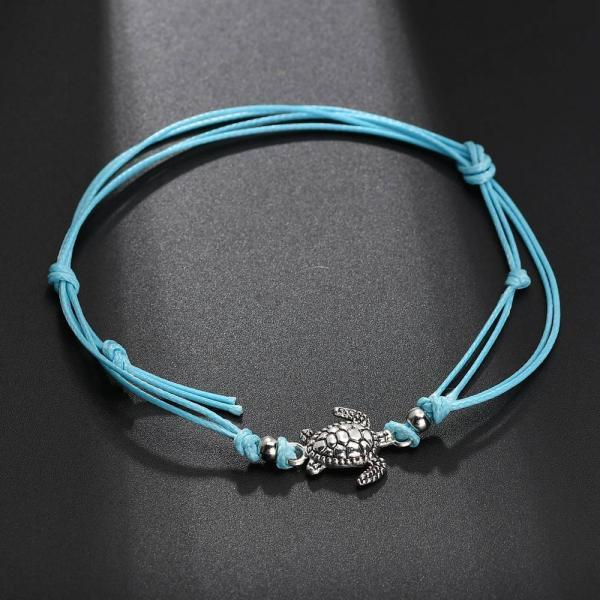 Summer Beach Turtle Shaped Charm Rope String Anklets For Women Ankle Bracelet-3