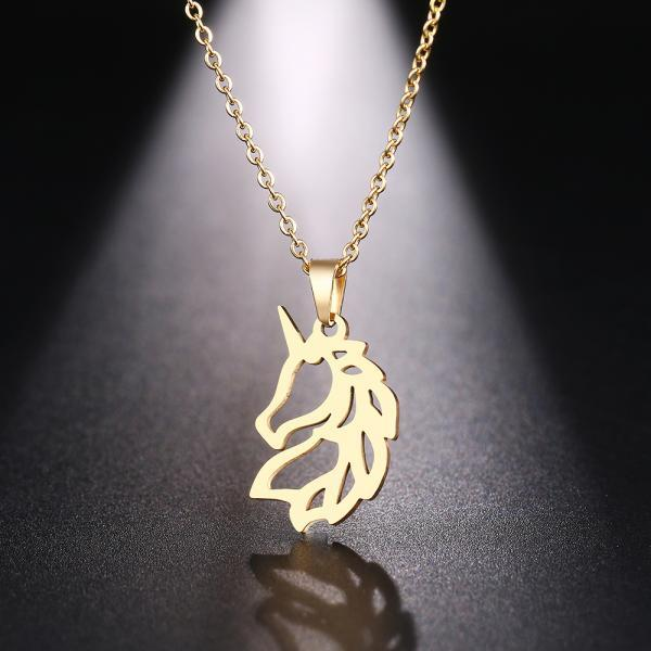 Steel Necklace For Women Man Noble Horse Gold And Silver Color Pendant Necklace Engagement Jewelry-3