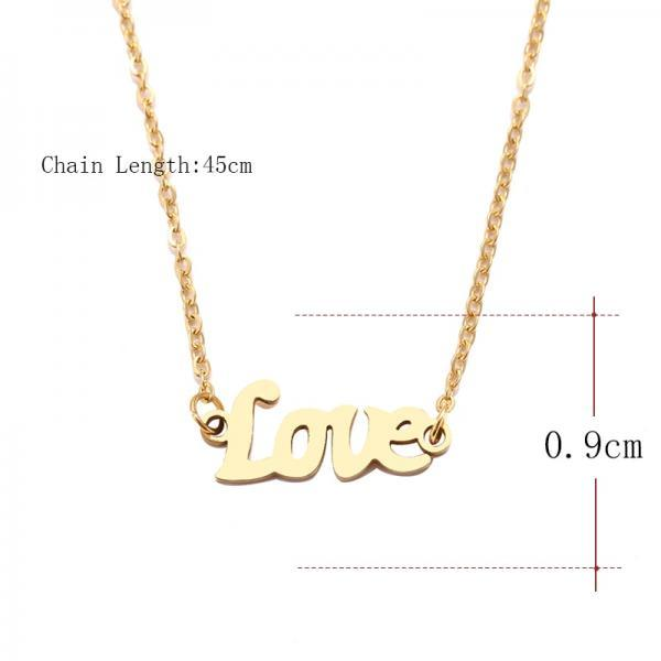 Steel Necklace For Women Man Love Word Sharp Gold And Silver Color Pendant Necklace Engagement Jewelry-4