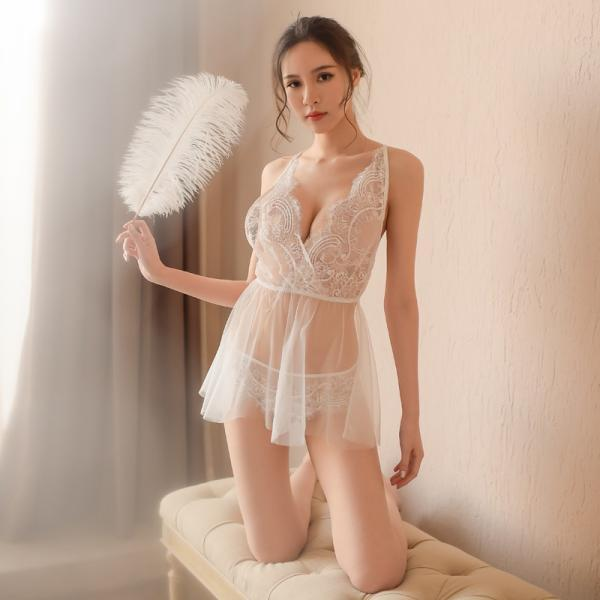 Women See Though Porn Dress Sexy Lace Lingerie Deep V Sleep Wear