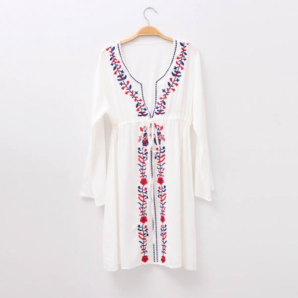 White Tie Waist Embroidered Beach Dress