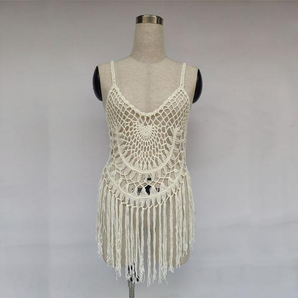 Hollow Out Fringe Hem Short Dress