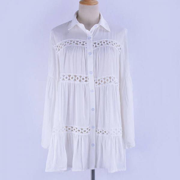 White Hollow Out Short Shirt Dress