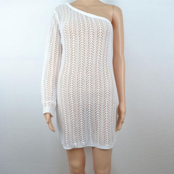Slash Neck Hollow Out Cover Up Dress