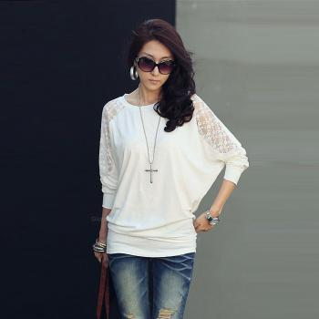 Batwing Long Sleeve Lace Loose T Shirt
