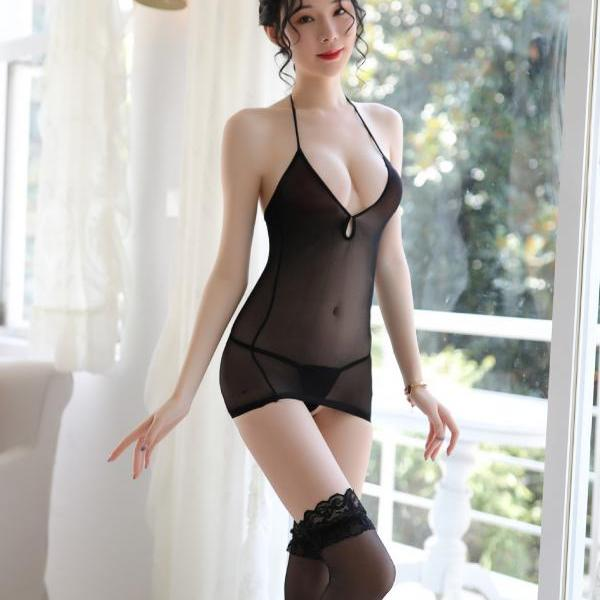 Sexy Halter Blackless hip Mini Dress(Give away silk stockings)