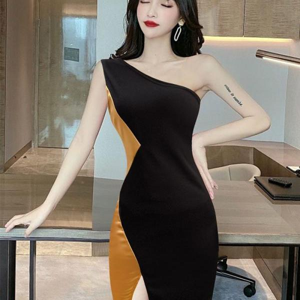 Sexy One Shoulder Mini Irregular Bodycon Dress-1