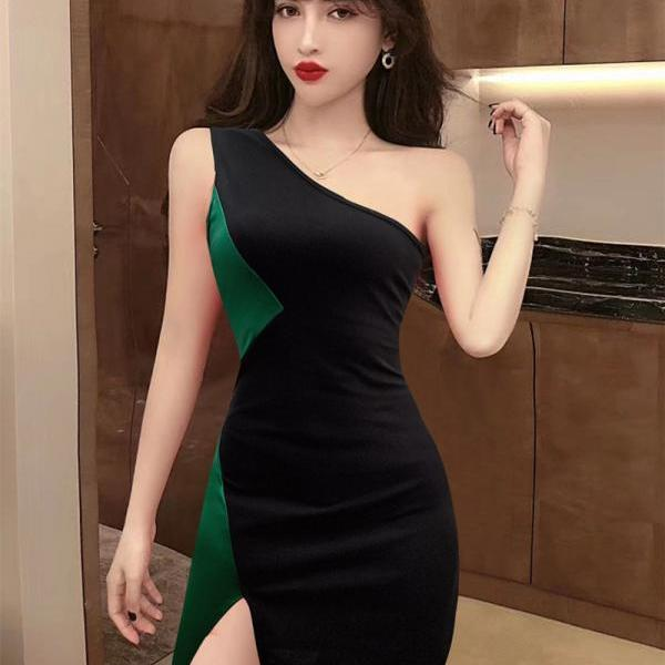 Sexy One Shoulder Mini Irregular Bodycon Dress-2
