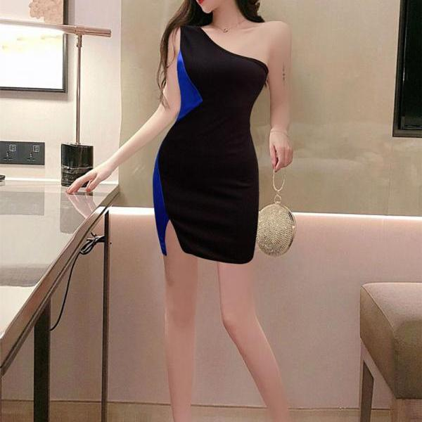 Sexy One Shoulder Mini Irregular Bodycon Dress-3